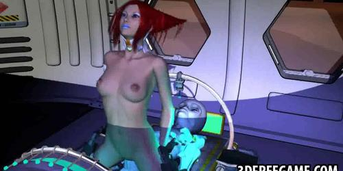 3D redhead babe sucks cock and gets fucked by an alien