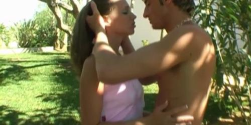 Outdoor sex with young brunette babe