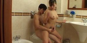 Brunette teen shower stuffing