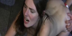Skinny teen slut fist fucked by two strangers at a bar