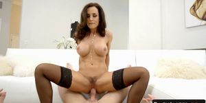 Big Boobed Brunette MILF Lisa Ann Comes Back to Feel Hard Cocks Inside Her Clit and Mouth