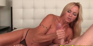 Bigtitted blond mature jerking off hard cock