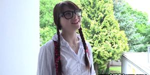Nerdy babe Luna Rival craves and fuck a huge cock