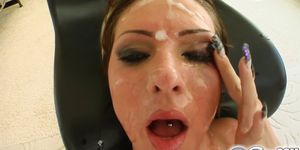 Garbriella\'s blindfolded and soaked in cum