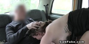 Huge tits babe gets ass jizz in fake taxi