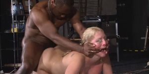 Rough interracial hardcore sex domination of busty Melanie Moon in pussy punishment bdsm and brutal water bondage whilst fucked