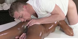 Ebony massage beauty rimmed and doggystyled