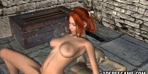 Sexy 3D cartoon redhead babe gets fucked by a goblin