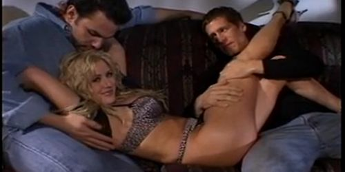 sexy busty blonde sucks cock while second dude fucks her from behind