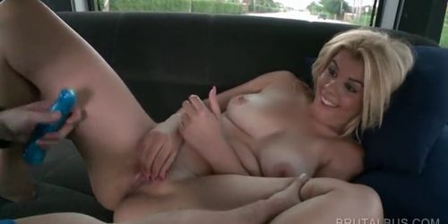 blonde slut gets quim nailed with dildo