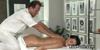 Masseur gives creampie to sexy brunette