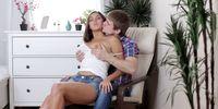 Busty teen taking a creampie