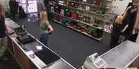 Lady in green is fucked hard in a pawnshop by the owner