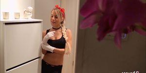 Skinny Teen Maid Nina Give Handjob to her Boss German