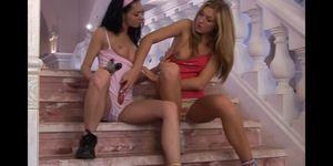 Lesbian teens Priscilla and Paula lick and toy twats