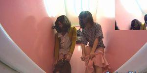 Japanese babes urinating together