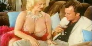 Retro blonde Lotta Topp fucks on couch