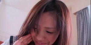 Sweet japanese teen gets hairy wet quim fucked deep