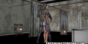 Sexy 3D cartoon bonde babe fucked by a zombie