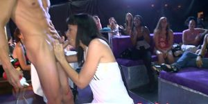 Real party ladies milking cock on camera