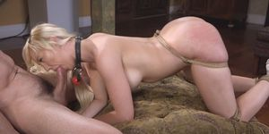 Saved from jail blonde fucked in bondage