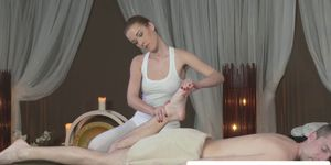 Beautiful babe rides cock after massage