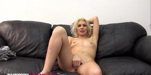 BACKROOM CASTING COUCH - Shy Girl Katy Gets Her Pussy and Mouth Fucked With Warm Mouthful Of Cum