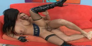 Busty titf ucked lady cop jizzed on oiled tits