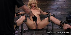 Blonde in bondage gets cattle prod in her ass