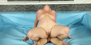 PLUMPERD - Fat bbw cat fights before cock riding in ring