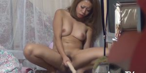 XXX JAPAN TV - Private video of young Asian using dildo for hairy pussy