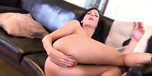 Hot European babe fists herself and uses dildo for asshole