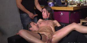 Euro slut gangbang fucked in public bar