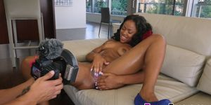Ebony babe gets ass POV jizzed