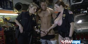 Shop owner is contrived into drilling horny milf cops hard