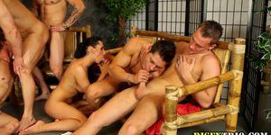 Bisex studs ride cock in bi orgy