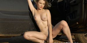NUDE FEMJOY - Serena J sensually stripping and showing her petite body