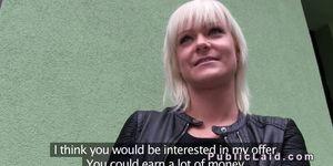 Hungarian blonde amateur fucks in public