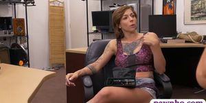 Busty tattooed woman railed by pawn man in the backroom