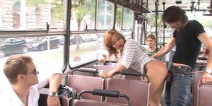 Blonde Sucks and Fucks in Public Bus