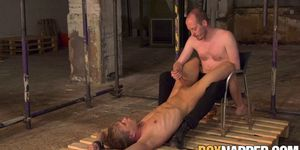 Restrained young blond jerked off by dominant male