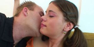 Little Caprice eats cream from cock and gets hot cum on her tits
