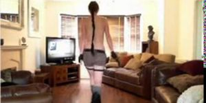 Sexy milf does Tomb Raider cosplay and shows off her sexy body