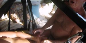super hot old and 2 drunk young girls playing naked on sex swing