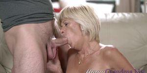 Dirty blonde granny fucks huge dick