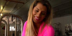 Adorable brazilian babe plays solo