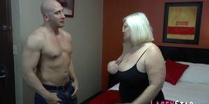 Mature blonde slut in stockings fucked
