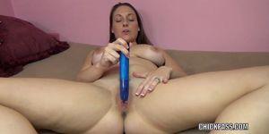 CHICKPASS NETWORK - Brunette MILF Melanie Hicks is fucking her big blue toy