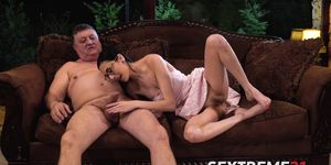 Dark haired babe with glasses pounded by horny old man