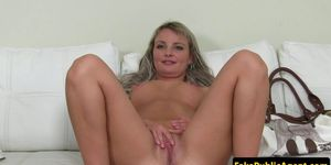 Casting babe spreads pussy at audition